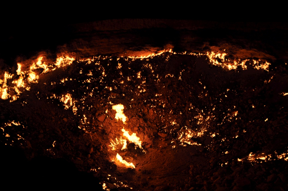 Feuerloch vom Gaskrater in Darvaza