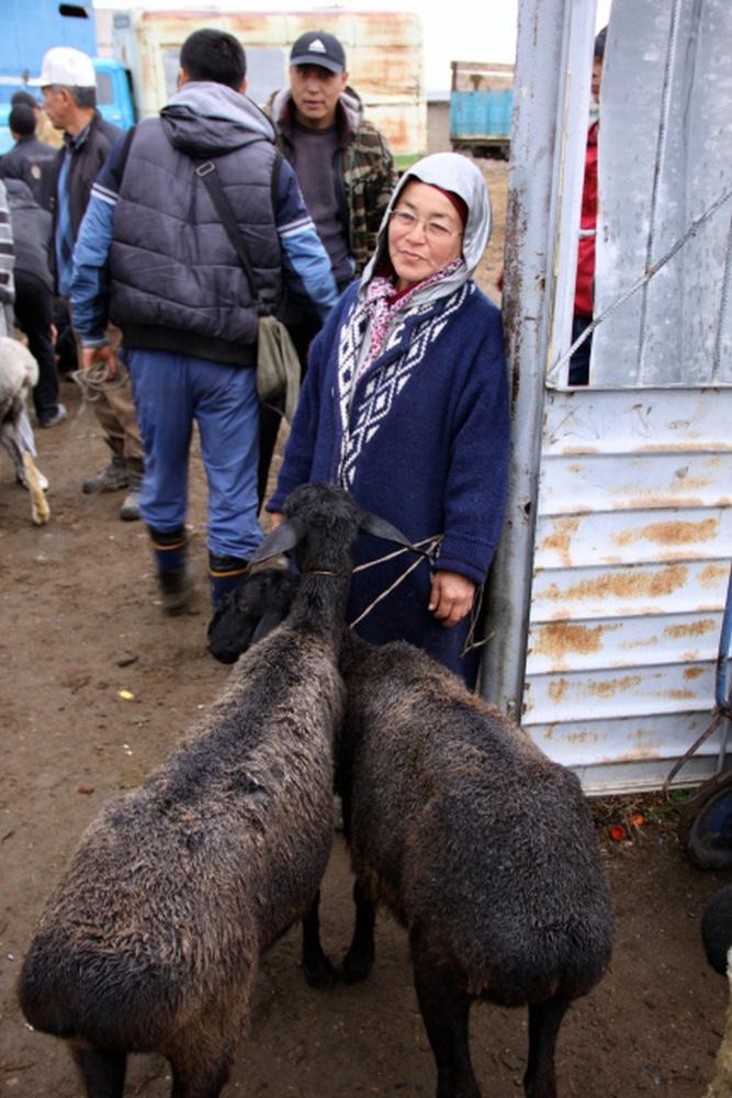 Frau mit zwei Schafen