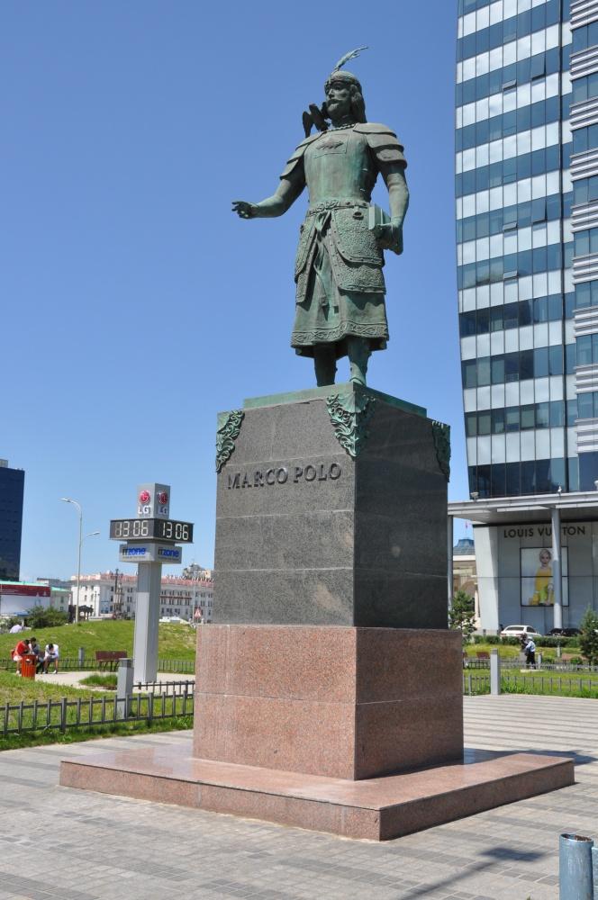 Marco Polo-Statue in Ulaanbaatar