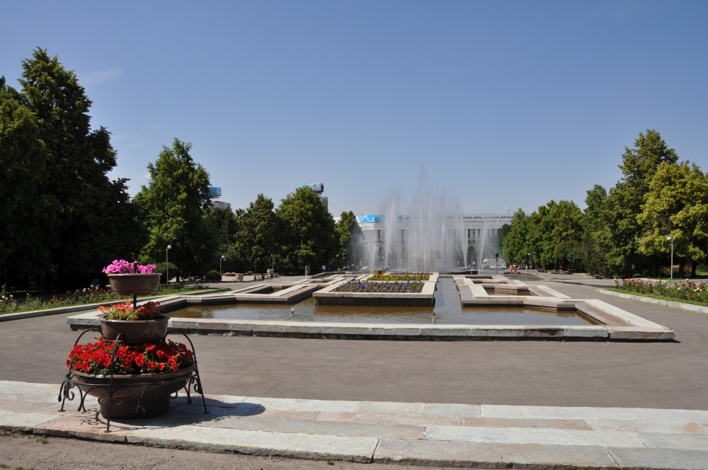 Springbrunnen im Park in Almaty