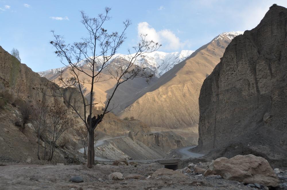 Strasse durchs Tal mit felsigen Bergen