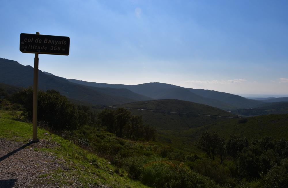 Col Banyuls Strassenschild Passhöhe