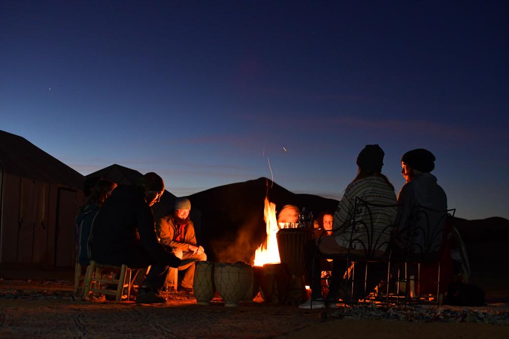Lagerfeuer Menschen Erg Chebbi