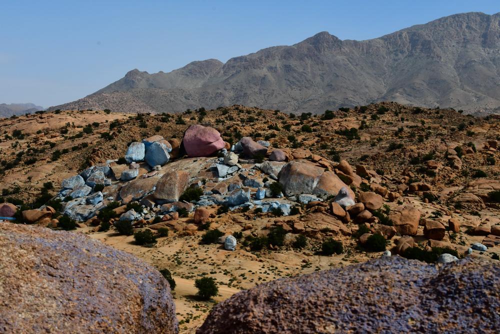 Blaue Steine Tafraout Berg Hintergrund