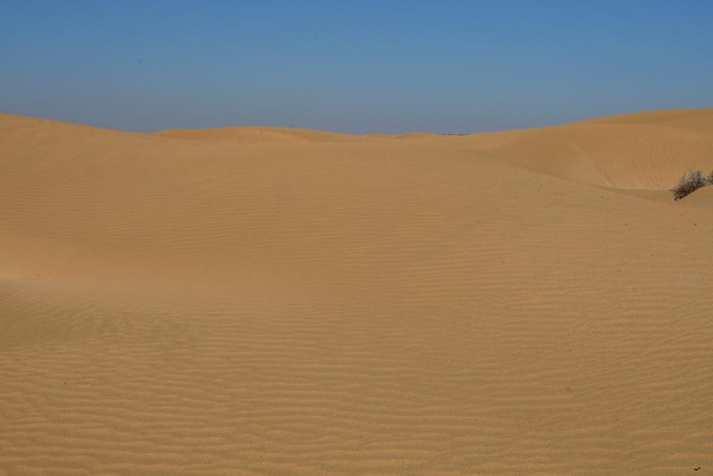 Goldige Sandduenen blauer Himmel