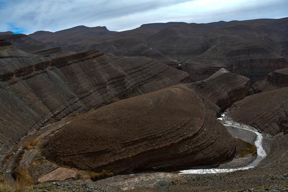 Dades 180 Grad Flusskurve Canyon Berge