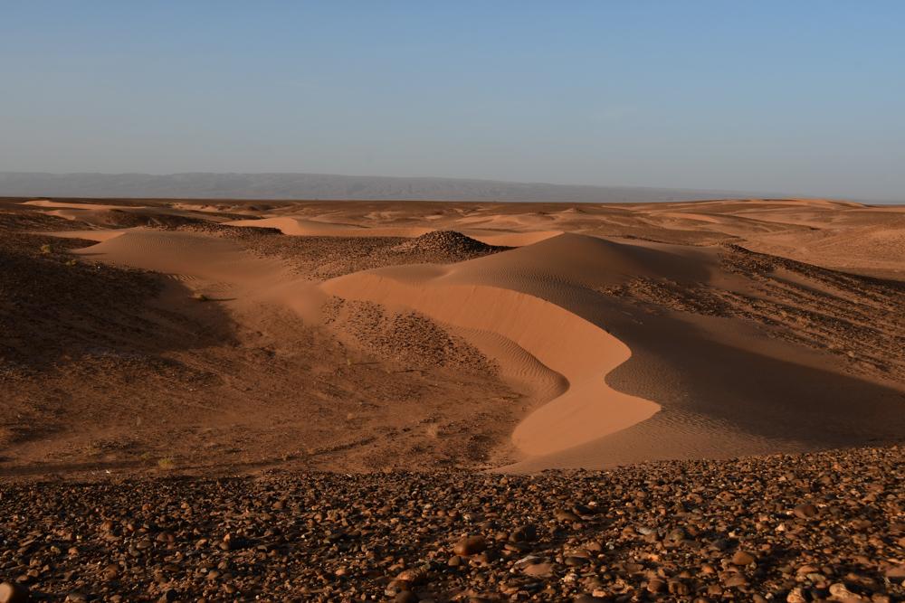 Kleine Sandduenen in Abendstimmung Richtung Erg Chegaga