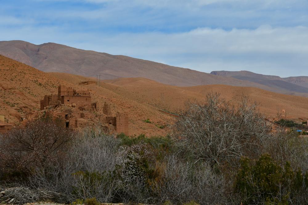 Zerfallener Kasbah Baeume Berge