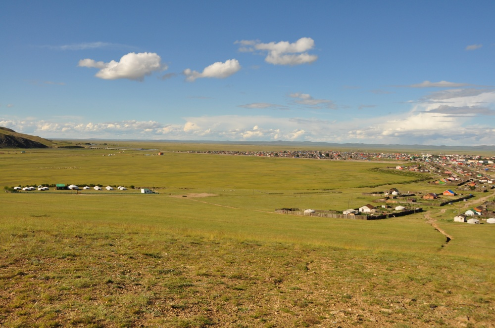 Blick von oben auf Kharkhorin