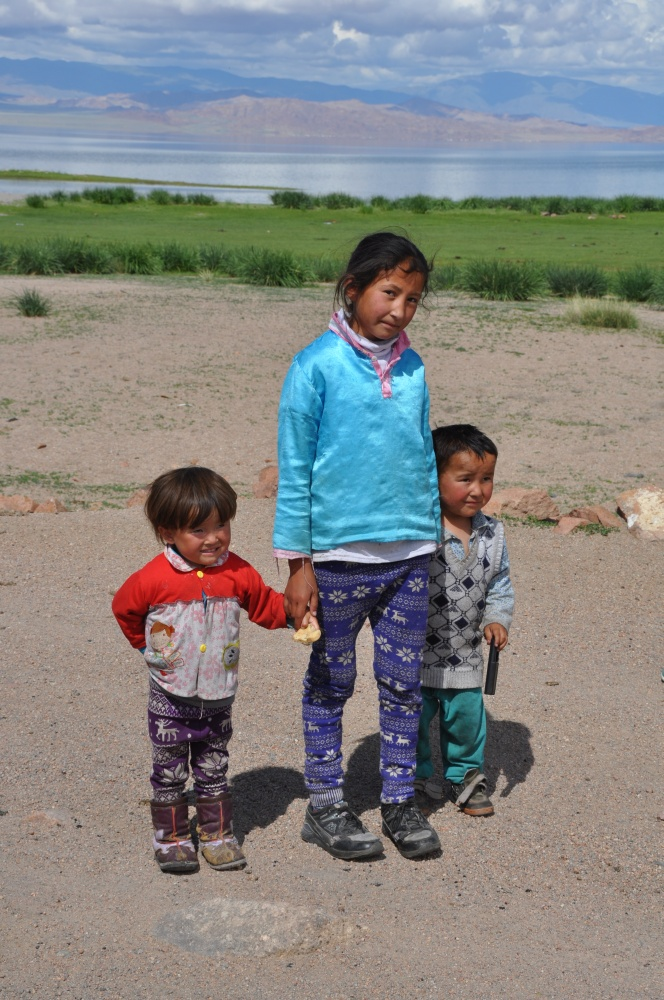Drei mongolische Kinder