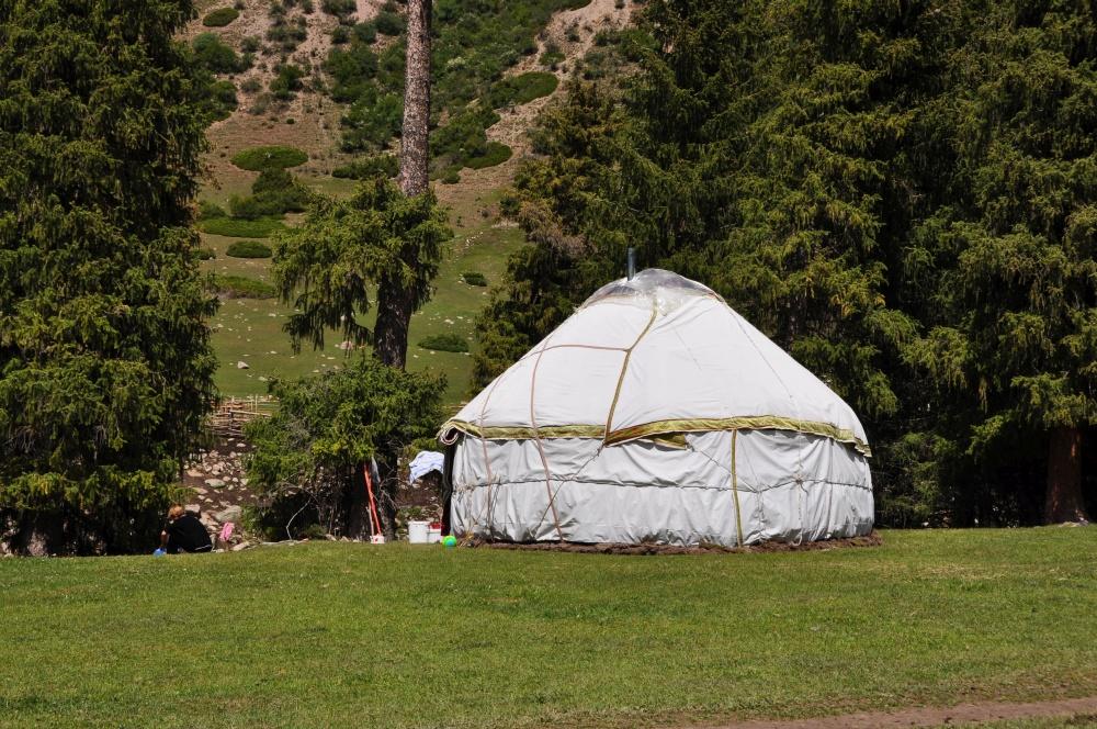 Kirgisische Jurte vor Tanne