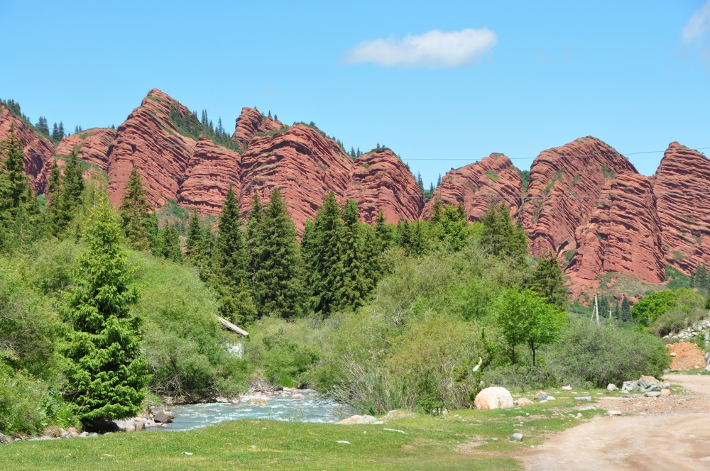 Rote Sandsteinformationen bei Jeti-Öghüz