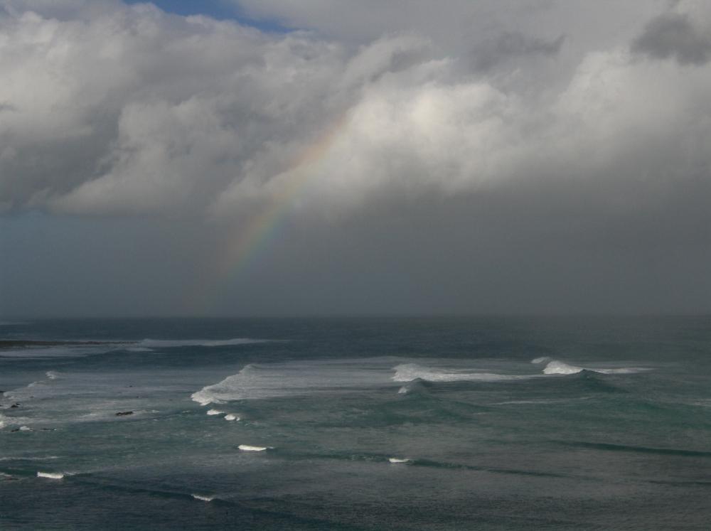 Meer, Wellen, Regenbogen, Wolken