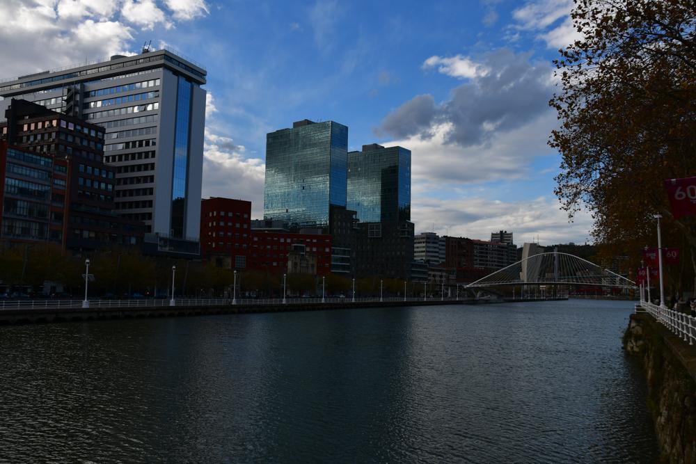 Bilbao Fluss Bruecke Hochhaeuser