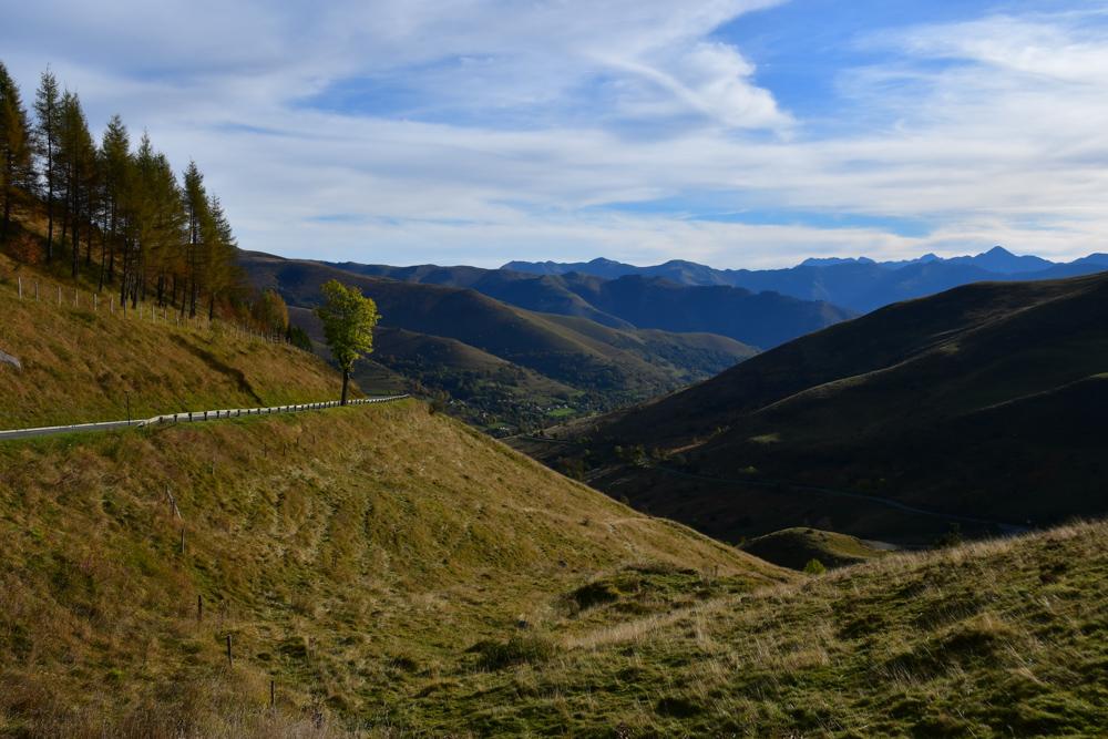 Herbstliche Grashügel Pyrenäen